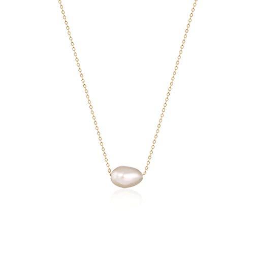 ZANZAN Collares de perlas irregulares Collar de plata 925 chapado en oro de 18 quilates con colgante de perlas,Gran regalo de San Valentín Oro para hombres/mujeres Collares