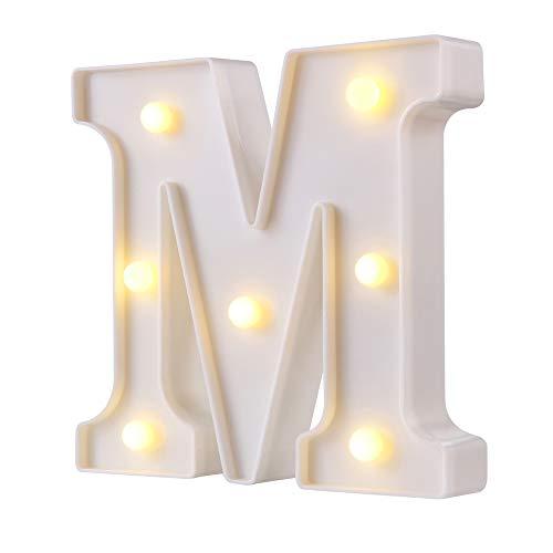 LED-Lichter für Partyzelt, 26 lphabet, beleuchtete Buchstaben, ideal für Nachtlicht, Hochzeit, Geburtstag, Party, Zuhause, Bar, Dekoration, Weihnachtslampe (weiß, A) Art Deco white-M