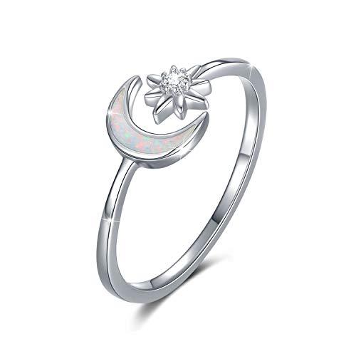 Ring Mond Silber 925 Mond und Stern Ring Verstellbar für Damen Offene Ringe Opal für Damen/Frauen/Mädchen (Weißer Opal)