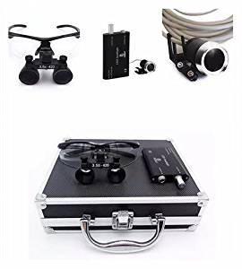 mkdental quirúrgico Binocular Loupes 3.5X 420Mm Optical Glass con LED lámpara de cabeza + caja de aluminio (negro)