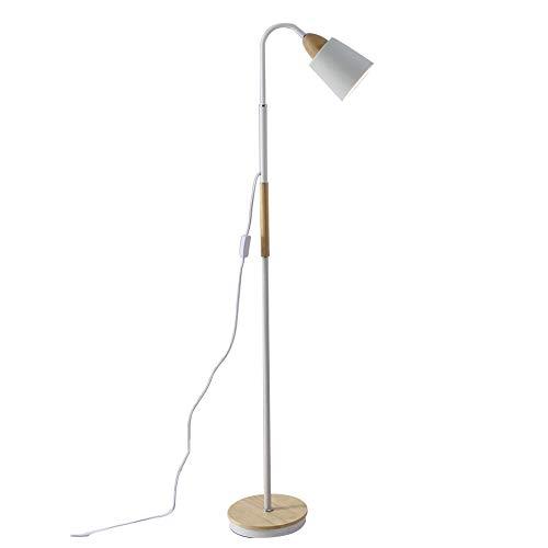 Lámpara de pie de estilo nórdico SYAODU, base de madera y metal, lámpara de lectura de ojo de dormitorio de estudio de sala de estar, diseño de cabeza de lámpara ajustable de 360 ° E27