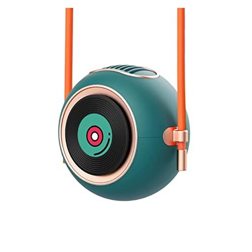XILAIDENG Zzhua Ventilador de Cuello Colgante USB Mini Ventilador de Cuello sin brocha Manos Libres de Manos Libres de 2 Grados Aganecientes for Viajar, Deportes, Oficina (Color : Green)