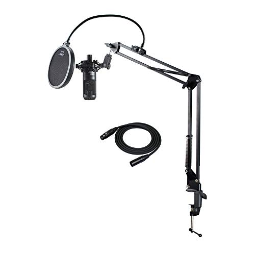 Audio Technica AT2035 Microphone with Knox Gear Pop Filter, Boom Arm and XLR Cable Bundle (4 Items)