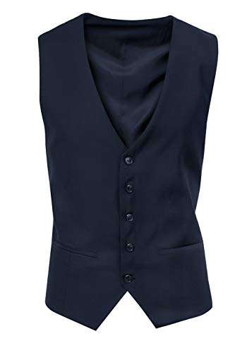 Gilet Panciotto Uomo Sartoriale Blu Scuro Slim Fit Elegante Formale Cerimonia (XXL)