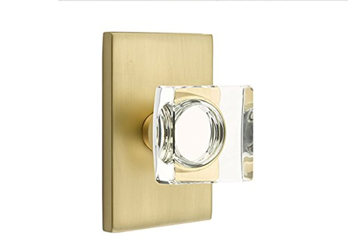 Privacy Set, Modern Rectangle Rosette, Modern Square Crystal Knob, Satin Brass