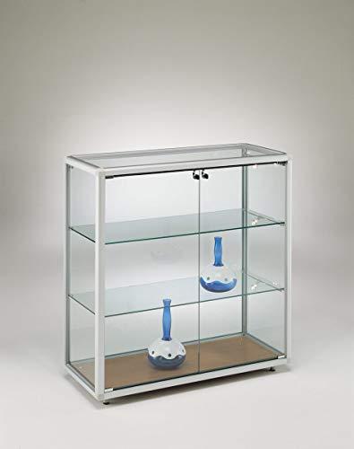 MHN brede vitrine glas aluminium halfhoog 2-deurs afsluitbaar 100 cm met glazen achterwand/op wielen
