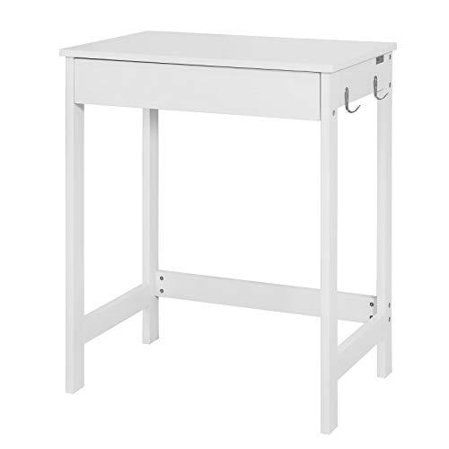 SoBuy FWT43-W Schreibtisch mit einer Schublade und 2 Haken Tisch Computertisch Arbeitstisch weiß BHT ca: 60x76x40cm (Ohne Stuhl)
