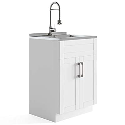 SIMPLIHOME Hennessy Contemporary 24 inch Deluxe Laundry Cabinet with Faucet and Stainless Steel Sink