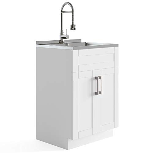 SIMPLIHOME Hennessy Contemporary 24 inch Deluxe Laundry Cabinet with Faucet and Stainless Steel Sink with 1 Storage Compartment, for the Laundry room, Utility room, Contemporary