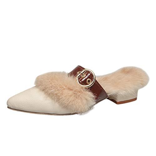 KERULA Damen Hausschuhe Pump Fluff Warm Spitzenschuhe Draussen Badeschuhe Home Badelatschen rutschfest Slippers Pantoffeln Gartenschuhe Schlappen Slide Sandal Sandalen
