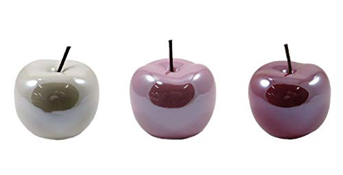 Apfel / 3 Stück/Dekoapfel/rosa+rosé+weiß glänzend / 15x12,5cm