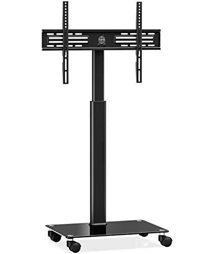 FITUEYES Soporte Móvil TV de 32 a 60 Pulgadas con Base de Vidrio Soporte de Suelo para Televisión de Pantalla LED LCD Plasma Plana Curva, Inclinable +8°/-12°, Altura Ajustable, MAX VESA 600x400