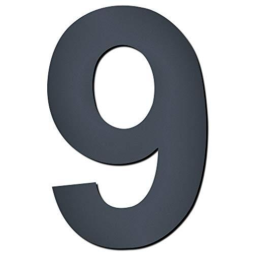 Mocavi Design V4A roestvrij staal huisnummer antraciet HS 20 fijne structuur gecoat RAL 7016 grijs 15 cm moderne cijfers en letters modern 9 antraciet