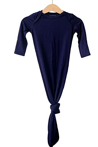 Marlowe & Co Bamboo Knotted Newborn Baby Gown, Ultra Soft Knotted Sleeper Gown for Baby Boy and Girl (0-3 Months, Navy)