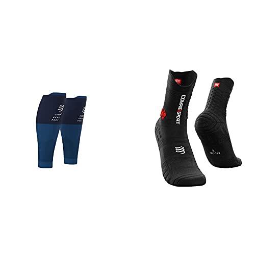Compressport R2V2 - Manga De Compresión Para Las Pantorrillas - Protección Muscular + Pro Racing Socks V3.0 Trail Calcetines Para Correr, Unisex-Adult, Negro/Rojo, T3 (42-44 Eu)