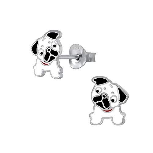 Laimons Mädchen-Ohrstecker Hund Hündchen Mops Schwarz Weiß 8mm aus Sterling Silber 925