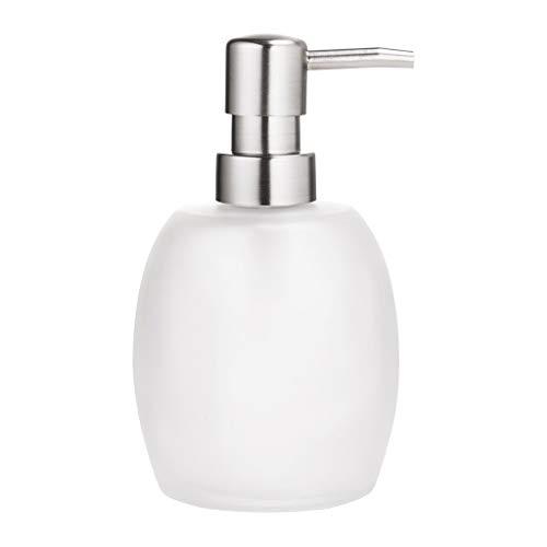 YAOLUU Dosificador Jabón líquido 14.2 Oz Cristal Loción jabón dispensador de jabón Oval dispensador con Bomba de Metal (Acero Luxe) encimera dispensadores de jabón Dispensador de jabón Recargable