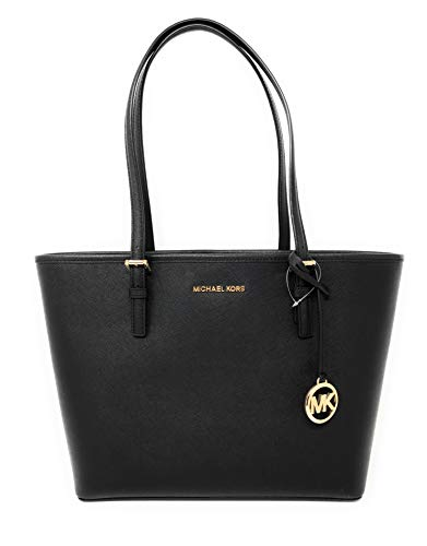 "Black Saffiano Leather 1 Interior Zip Pocket, 7 Multifunction Slip Pockets, Mobile Phone Pocket Michael Kors Logo on Front with Hanging Logo Open Top with Clip Closure Measures 10.5"" H x 4.5"" D x 16"" L"