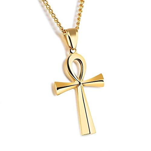 Gepersonaliseerde accessoires, Kettingen, Cross Hanger Heren Ketting Staal/Zwart/Goud Kleur RVS Glad Ontwerp Zegen Religieuze Kleur, Thumby Gold Color