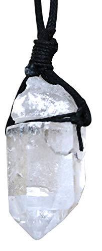 Bergkristall Rohstein am Stoffband, Edelstein Berg Kristall Anhänger Kraft und Energie