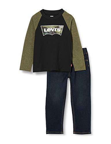Levi's Kids LvbRaglanTopJeansSet Baby- und Kleinkind-Ausstattung Baby - Jungen Olive Night Heather 18 Monate