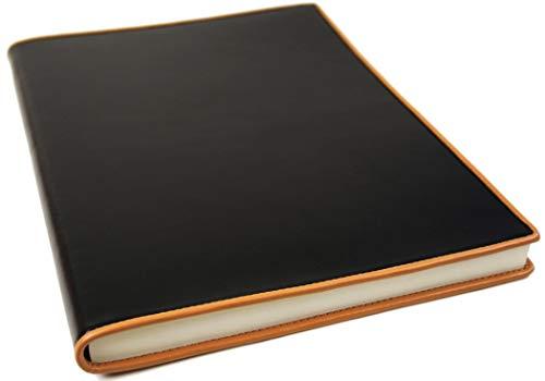 LEATHERKIND Cortona Leder Notizbuch Schwarz, A4 (21x29cm) Blanko Seiten - Handgefertigt in Italien