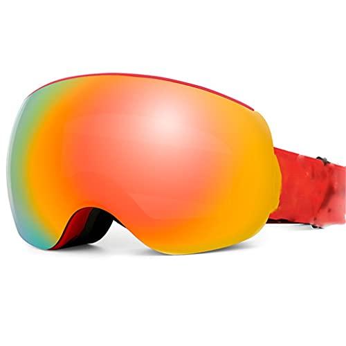 PVDR Gafas De Esquí Sin Marco Magnéticas con Correa Desmontable, Gafas De Nieve para Hombres, UV400, Tabla De Snowboard Antivaho, Esquí, Deportes Al Aire Libre para Mujeres (Color : A)