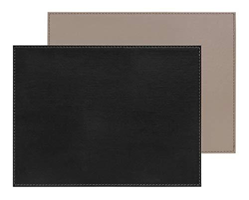 Freeform Duo rechteckig, schwarz/Taupe Platzset, Kunstleder, One Size