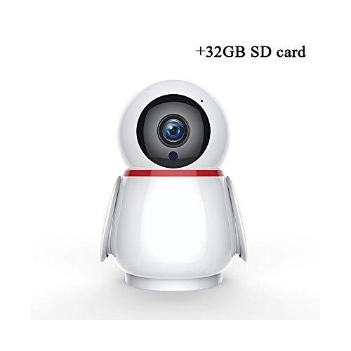 Cámara WLAN, cámara de vigilancia IP 1080P con Audio bidireccional, detección de Movimiento, visión Nocturna y rotación Inteligente, Monitor de Interior for Mascotas ( Size : 32GB )