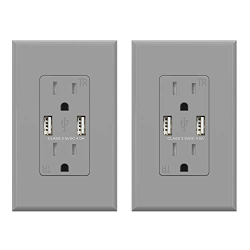 (2 Pack, Glossy Gray) ELEGRP USB Outlet Wall Charger, Dual High Speed 4.0 Amp USB Ports with Smart Chip, 15 Amp Duplex Tamper Resistant Receptacle Plug NEMA 5-15R, Wall Plate Included, UL Listed