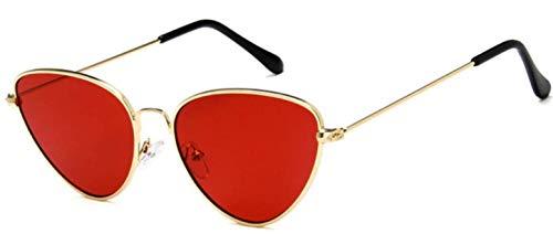 Gafas de sol ojo de gato - mujer - ojo de gato - ovalado - mariposa - alargado - niña - vintage - retro - moda - primavera - otoño - invierno - verano - marco dorado - lente roja cat eye