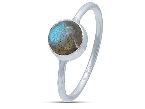 Ring Silber 925 Sterlingsilber Labradorit Stein (Nr: MRI 78), Ringgröße:56 mm/Ø 17.8 mm