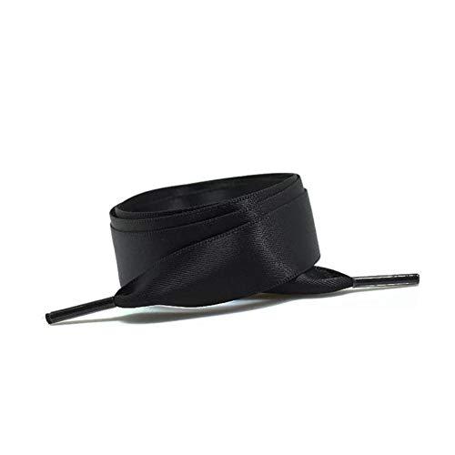 LLAAIT 1 Paar 2 cm Breite Flache Satin Schnürsenkel Seidenband Schuhschnürsenkel Stiefel Damen Turnschuhe Schuhspitze 22 Farben Länge 80CM 100CM 120CM, Schwarz, China