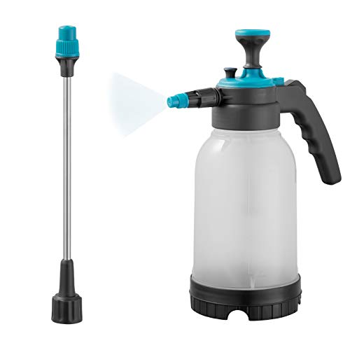 GETTON 2.0L Garden Sprayer, Hand-held Pressure Pump Sprayer Plant Mister Spray Bottle with Adjustable Nozzle and Detachable Wand for Indoor Outdoor Household Cleaning Garden Lawn Watering