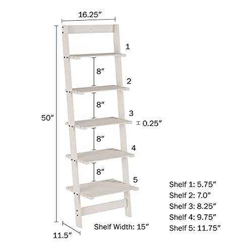 Lavish Home 5-Tier Ladder Bookshelf- Leaning Decorative Shelves for Display, Whitewash