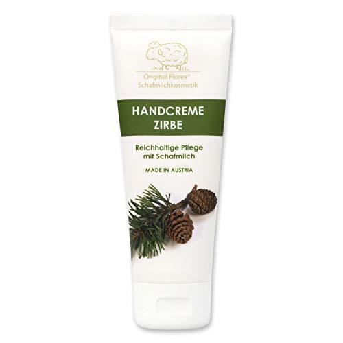 Florex Handcreme Zirbe - Reichhaltige intensive Pflege bei trockenen strapazierten Händen mit Schafmilch ohne Palmöl 75 ml