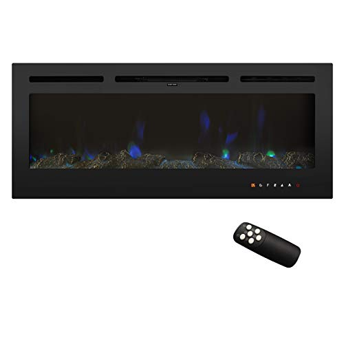 """Puluomis 50"""" Electric Fireplace, Insert Recessed and Wall Mounted Fireplace with Touch Screen Control Panel and Remote Control, Fireplace Heater with 12 Flamer Color, 750/1500W, Black"""