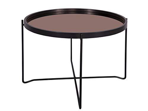 Present Time - Table Basse Noir Plateau Miroir cuivre Polished