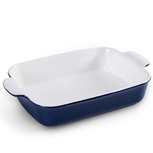 Baking Pans, Jemirry Rectangular Ceramic Baking Dishes for Oven Cooking, Kitchen, Cake, Banquet and Daily Use- Classic Blue