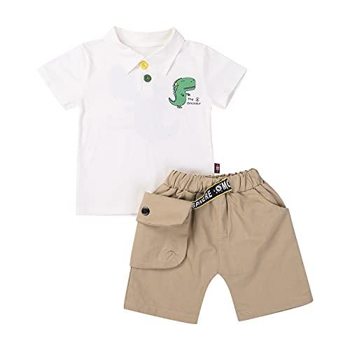 Loalirando Juego de camiseta de manga corta y pantalones cortos para niño, juego de 2 piezas, camisetas con impresión de dinosaurio para la playa Dinosaurio Blanco 3-4 Año