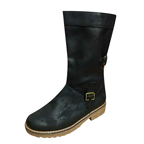 WUSIKY Geschenk für Frauen Stiefeletten Damen Bootsschuhe Boots Flache Leder Bequeme Schnalle Reißverschluss Schuhe Cowboy Knigh Stiefel mit niedrigen Absätzen (Schwarz, 39 EU)