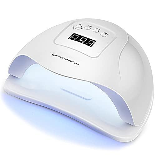 80W Lámpara LED UV Uñas, Lámpara Secador De Uñas LED UV Gel Esmalte De Uñas Curado Luz Máquina Pantalla LCD Táctil Sensor Automático Con Temporizador 10S/30S/60S/99S Para Manicura/Pedicure Nail Art