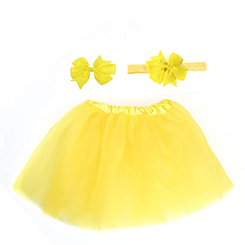 ZZLBUF Faldas de bebé niña, falda de tutú amarillo con diadema, amarillo, Talla única