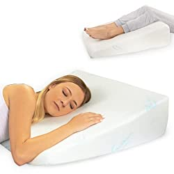 Memory foam wedge in 3 different inclinations, and bamboo cover for back support while reading in bed