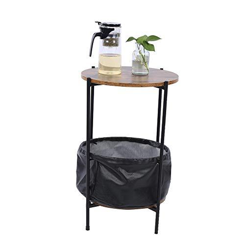 Cikonielf - Mesa de café industrial con estante de tela, mesa de té, mesita de noche de estilo industrial para dormitorio, mesas bajas para salón, 59,8 x 32,7 cm