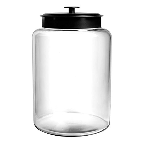 Anchor Hocking 2.5 Gallon Montana Glass Jar with Fresh Seal Lid, Black Metal, Set of 1