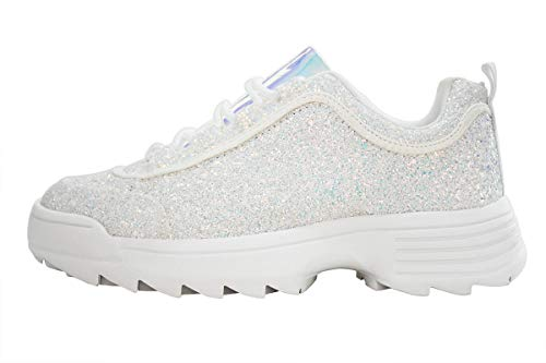 LUCKY STEP Women Fashion Sneakers Glitter Sparkle Non-Slip & Quilted Lace Up Outdoor Running Shoes (White,8 B(M) US)