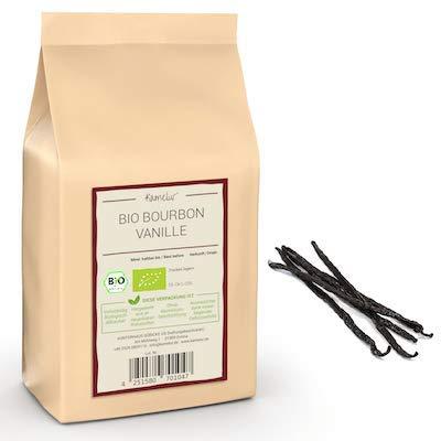Ganze BIO Bourbon Vanilleschoten - 5 Stück, 15 bis 17cm lang - echte BIO Bourbon Vanille aus Madagaskar - Vanilleschote in umweltfreundlicher Verpackung