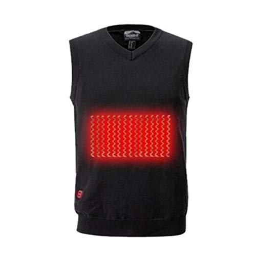 Carbon fiber zijde verwarmd Mr. vest, USB Beveiliging Smart oplaadbaar, zwarte winter kleren, S, M, L, XL, XXL, Kerstcadeaus (Color : Black, Size : S)