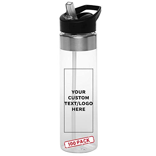 Custom Plastic Water Bottle 24 oz with Inside Straw - 100 Pack - Personalized Text - BPA Free, Screw-On Cap Flip Nozzle Mechanism - Slim Translucent Body - Eastman Tritan Copolyester - Clear